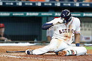 Jun 22, 2016; Houston, TX, USA; Houston Astros shortstop Carlos Correa (1) lays on the ground hurt after avoiding being hit by a pitch against the Los Angeles Angels in the sixth inning at Minute Maid Park. Mandatory Credit: Thomas B. Shea-USA TODAY Sports