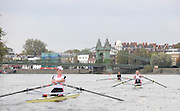 London GREAT BRITAIN, Women's Wingfield leading Sophie HOSKING,  followed by Kristine STILLER and Katie GREAVES, raced over the Championship Course, Women's Race, winner Sophie HOSKING,  Putney to Chiswick, River Thames, [Photo, Peter Spurrier/Intersport-images] .. Rowing Course: River Thames, Championship course, Putney to Mortlake 4.25 Miles,
