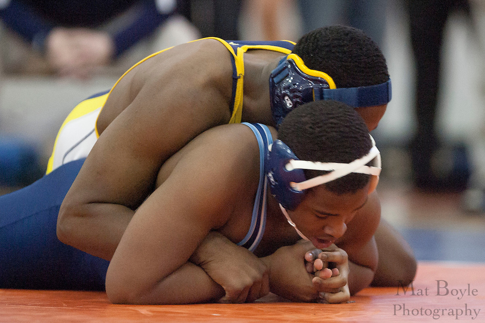 Jordan Warren of Highland Regional High School vs. Trevant McCloud of Lindenwold High School during the District 30 Wrestling semifinal match in the 182lb weight class at Overbrook High School on February 18, 2012. (photo / Mat Boyle)