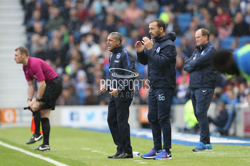 Brighton Manager, Chris Hughton Brighton Assistant Manager, Colin Calderwood during the EFL Sky Bet Championship match between Brighton and Hove Albion and Preston North End at the American Express Community Stadium, Brighton and Hove, England on 15 October 2016.