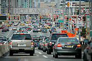 Traffic jam in front of the Holland Tunnel leading in to Manhattan.