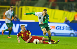 BRUSSELS, BELGIUM - Tuesday, October 15, 2013: Wales' Craig Bellamy in action against Belgium's Kevin De Bruyne during the 2014 FIFA World Cup Brazil Qualifying Group A match at the Koning Boudewijnstadion. (Pic by David Rawcliffe/Propaganda)