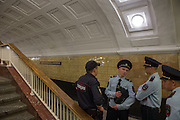 Security guards patrol the Biblioteca Im Lenina (The Lenin Library) Metro Station , opened in 1935.