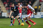 Sam Gallagher (Blackburn Rovers) cuts inside the Rotherham defender with the ball during the EFL Sky Bet Championship match between Rotherham United and Blackburn Rovers at the AESSEAL New York Stadium, Rotherham, England on 11 February 2017. Photo by Mark P Doherty.