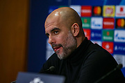 Manchester City manager Pep Guardiola during the Manchester City press conference ahead of the Champions League match against FC Schalke 04, at Philharmonic Theatre, Essen, Germany on 19 February 2019.