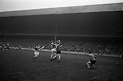 17/03/1965<br /> 03/17/1965<br /> 17 March 1965<br /> Railway Cup Hurling final  Munster v Leinster at Croke Park, Dublin. Leinster's C. O'Brien (14) and Munster's A. Flynn (3) jump for the ball.