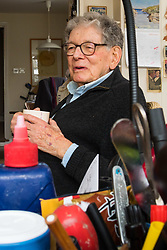 Retired product designer turned toy maker, whose many innovations became iconic household names Tom Karen is photographed with toys he created from recycled materials at his home in Cambridge, UK. <br /> Cambridge, March 01 2018.