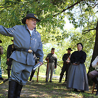 RAY VAN DUSEN/BUY AT PHOTOS.MONROECOUNTYJOURNAL.COM<br /> Jack Hamilton explains improvements at the Old Aberdeen Cemetery during a Confederate Memorial Day ceremony May 7.