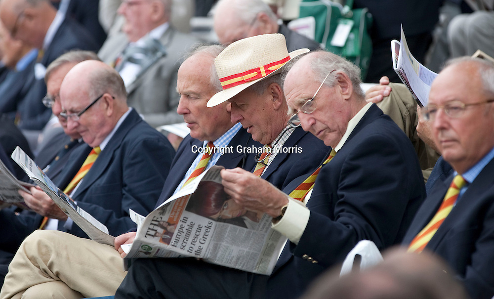 Times reading MCC members during the first npower Test Match between England and India at Lord's Cricket Ground, London.  Photo: Graham Morris (Tel: +44(0)20 8969 4192 Email: sales@cricketpix.com) 21/07/11