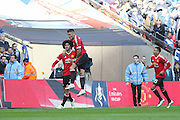 Marouane Fellaini of Manchester United celebrates the opening goal during the The FA Cup semi final match between Everton and Manchester United at Wembley Stadium, London, England on 23 April 2016. Photo by Phil Duncan.