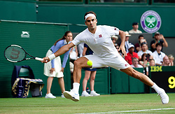 Roger Federer beats Jan-Lennard Struff at Wimbledon Tennis 2018 with a 6/3 7/5 6/2 in London, UK, on July 06, 2018. Photo by Omid Davarian/ABACAPRESS.COM