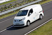 Photo shows a prototype of Nissan's e-NV200 electric vehicle during a test run at the automaker's Oppama test circuit in Yokohama, Japan on 17 Oct. 2012.  Photographer: Robert Gilhooly
