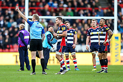 Olly Robinson (capt) of Bristol Rugby (C) reacts as Referee Wayne Barnes shows a Red Card for Tusi Pisi of Bristol Rugby (R) - Rogan Thomson/JMP - 26/12/2016 - RUGBY UNION - Ashton Gate Stadium - Bristol, England - Bristol Rugby v Worcester Warriors - Aviva Premiership Boxing Day Clash.