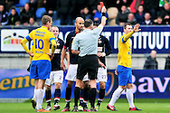 Onderwerp/Subject: Eredivisie<br /> Reklame:  <br /> Club/Team/Country: <br /> Seizoen/Season: 2012/2013<br /> FOTO/PHOTO: Gaby JALLO (BEHIND) of Willem II receives a red card from Referee Tom VAN SICHEM (FRONT). (Photo by PICS UNITED)<br /> <br /> Trefwoorden/Keywords: <br /> #05 #08 $94 &plusmn;1342783437660<br /> Photo- &amp; Copyrights &copy; PICS UNITED <br /> P.O. Box 7164 - 5605 BE  EINDHOVEN (THE NETHERLANDS) <br /> Phone +31 (0)40 296 28 00 <br /> Fax +31 (0) 40 248 47 43 <br /> http://www.pics-united.com <br /> e-mail : sales@pics-united.com (If you would like to raise any issues regarding any aspects of products / service of PICS UNITED) or <br /> e-mail : sales@pics-united.com   <br /> <br /> ATTENTIE: <br /> Publicatie ook bij aanbieding door derden is slechts toegestaan na verkregen toestemming van Pics United. <br /> VOLLEDIGE NAAMSVERMELDING IS VERPLICHT! (&copy; PICS UNITED/Naam Fotograaf, zie veld 4 van de bestandsinfo 'credits') <br /> ATTENTION:  <br /> &copy; Pics United. Reproduction/publication of this photo by any parties is only permitted after authorisation is sought and obtained from  PICS UNITED- THE NETHERLANDS