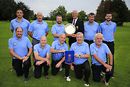 Eamon O'Connor Ulster Golf (R) present the winners pennant to Patrick Denning CO. Cavan Golf Club after the All Ireland Fourball Inter Club Ulster finals, Killymoon Golf Club, Cookstown, Tyrone, Northern Ireland. 25/08/2019.<br /> Picture Fran Caffrey / Golffile.ie<br /> <br /> All photo usage must carry mandatory copyright credit (© Golffile | Fran Caffrey)<br /> <br /> Team: Jim Greene, Jimmy Murray, Niall Sheridan, Frank O'Brien, Rodney Lyons, Pat McEnroe, Tony Hughes, Barry Gardiner and Brendan McClarey