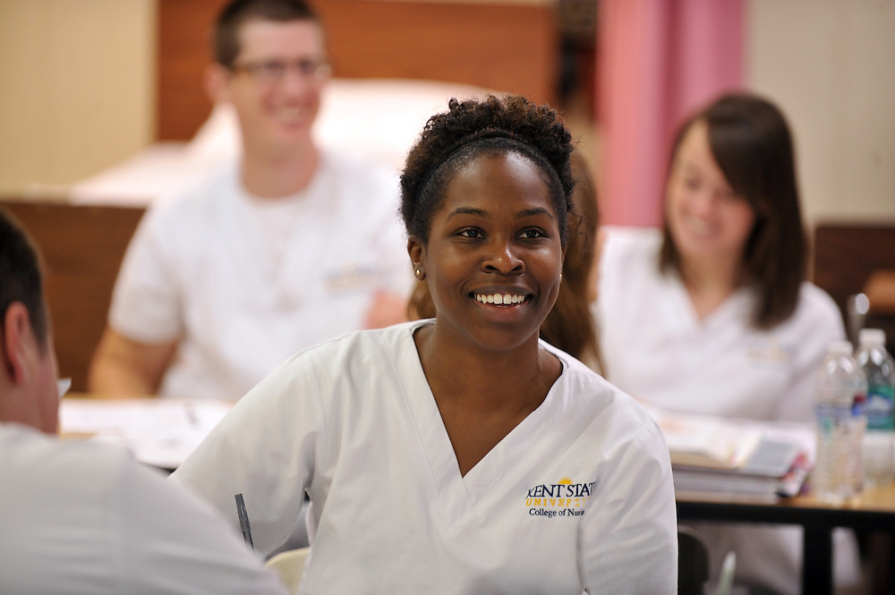 A nursing student in the advanced classes listen to a lecture in Henderson Hall. Advanced classes are for students who already have a bachelor's degree in some other field, and wish to get a bachelor's in nursing.