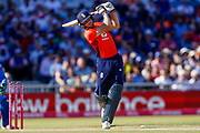 England T20 wicket keeper Jos Butler with a straight hit six during the International T20 match between England and India at Old Trafford, Manchester, England on 3 July 2018. Picture by Simon Davies.