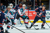 KELOWNA, CANADA - FEBRUARY 24:  Braydyn Chizen #22 of the Kelowna Rockets stick checks Nick Chyzowski #16 of the Kamloops Blazers on February 24, 2018 at Prospera Place in Kelowna, British Columbia, Canada.  (Photo by Marissa Baecker/Shoot the Breeze)  *** Local Caption ***