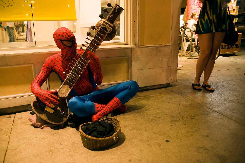 Spiderman auf Duval Street, Key West..Florida 2009..Foto © Stefan Falke.
