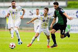 Luka Zahovic of NK Maribor  and Domagoj Muic of NK Rudar Velenje during football match between NK Rudar Velenje and Maribor in 1st Round of Prva liga Telekom Slovenije 2018/19, on July 22, 2018 in Mestni stadion ob Jezeru, Velenje , Slovenia. Photo by Ziga Zupan / Sportida
