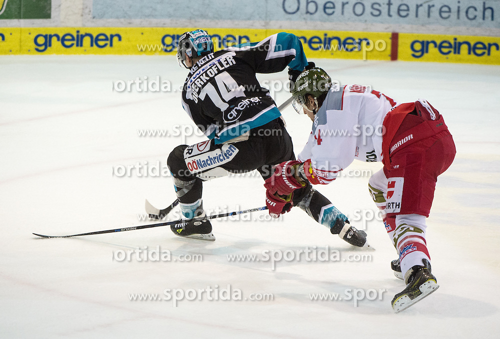 28.02.2016, Keine Sorgen Eisarena, Linz, AUT, EBEL, EHC Liwest Black Wings Linz vs HCB Suedtirol, Viertelfinale, 2. Spiel, im Bild v.l. Daniel Oberkofler (EHC Liwest Black Wings Linz), Davide Nicoletti (HCB Suedtirol) // during the Erste Bank Icehockey League 2nd quarterfinal match between EHC Liwest Black Wings Linz vs HCB Suedtirol at the Keine Sorgen Eisarena in Linz, Austria on 2016/02/28. EXPA Pictures © 2016, PhotoCredit: EXPA/ Reinhard Eisenbauer
