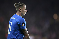 February 14, 2019 - Prague, CZECH REPUBLIC - Genk's Sebastien Dewaest pictured during a soccer game between Czech club SK Slavia Praha and Belgian team KRC Genk, the first leg of the 1/16 finals (round of 32) in the Europa League competition, Thursday 14 February 2019 in Prague, Czech Republic. BELGA PHOTO YORICK JANSENS (Credit Image: © Yorick Jansens/Belga via ZUMA Press)