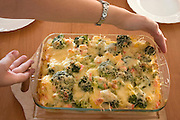 Polish zapiekanka casserole with broccoli seafood and potatoes covered with cheese. Balucki District Lodz Central Poland