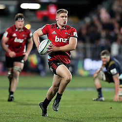 Jack Goodhue on attack during the Super Rugby match between the Crusaders and Highlanders at Wyatt Crockett Stadium in Christchurch, New Zealand on Friday, 06 July 2018. Photo: Martin Hunter / lintottphoto.co.nz
