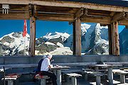 "Berghaus Diavolezza, Engadine, Switzerland, the Alps, Europe. Ride Bernina-Diavolezza lift up to Berghaus Diavolezza, optionally dining or staying overnight, for spectacular views of the Bernina Range. If not afraid of heights at Diavolezza, don't miss the scenic, rocky hike to Munt Pers which gains 265 meters over 2 km one way. Upper Engadine is in Graubünden (Grisons) canton. The Swiss valley of Engadine translates as the ""garden of the En (or Inn) River"" (Engadin in German, Engiadina in Romansh, Engadina in Italian)."