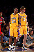 15 January 2010: Guard Kobe Bryant and forward Pau Gasol of the Los Angeles Lakers against the Los Angeles Clippers during the second half of the Lakers 126-86 victory over the Clippers at the STAPLES Center in Los Angeles, CA.
