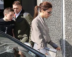 Victoria Beckham and her son Brooklyn arriving at the Southbank in London to give a talk about her life as part of the Vogue Festival, Sunday, 28th April  2013  Photo by: Stephen Lock / i-Images