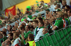Irish fans during the fourth round qualification game of 2010 FIFA WORLD CUP SOUTH AFRICA in Group 3 between Slovenia and Northern Ireland at Stadion Ljudski vrt, on October 11, 2008, in Maribor, Slovenia.  (Photo by Vid Ponikvar / Sportal Images)