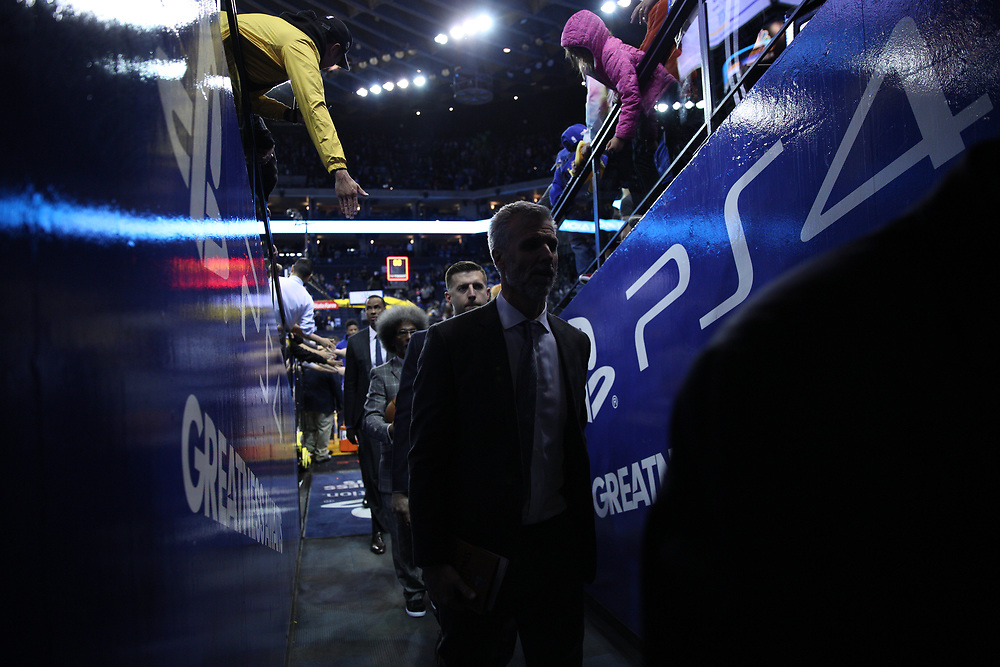 during the second half of an NBA game between the Golden State Warriors and Sacramento Kings at Oracle Arena, Friday, March 16, 2018, in Oakland, Calif. The Sacramento Kings won 98-93.