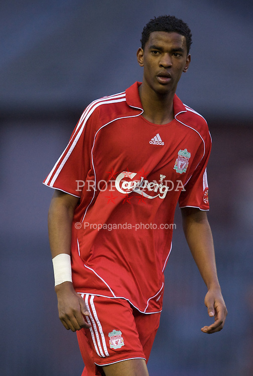 WIDNES, ENGLAND - Tuesday, April 1, 2008: Liverpool's Damien Plessis in action against Everton during the 'mini-Derby' FA Premiership Reserves League (Northern Division) match at the Stobart Stadium . (Photo by David Rawcliffe/Propaganda)
