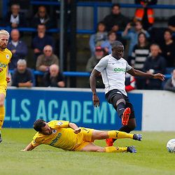 SEPTEMBER 1y6:  Dover Athletic against Chester FC in Conference Premier at Crabble Stadium in Dover, England. Doveer ran out emphatic winners 4 goal to nothing. Dover's midfielder Nortei Nortey jumps over a challenge by Chester's  Craig Mahon. (Photo by Matt Bristow/mattbristow.net)