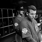 Anthony Rizzo, (right) and Kris Bryant, Chicago Cubs, in the dugout preparing to bat with Kris Bryant during the New York Mets Vs Chicago Cubs MLB regular season baseball game at Citi Field, Queens, New York. USA. 30th June 2015. Photo Tim Clayton