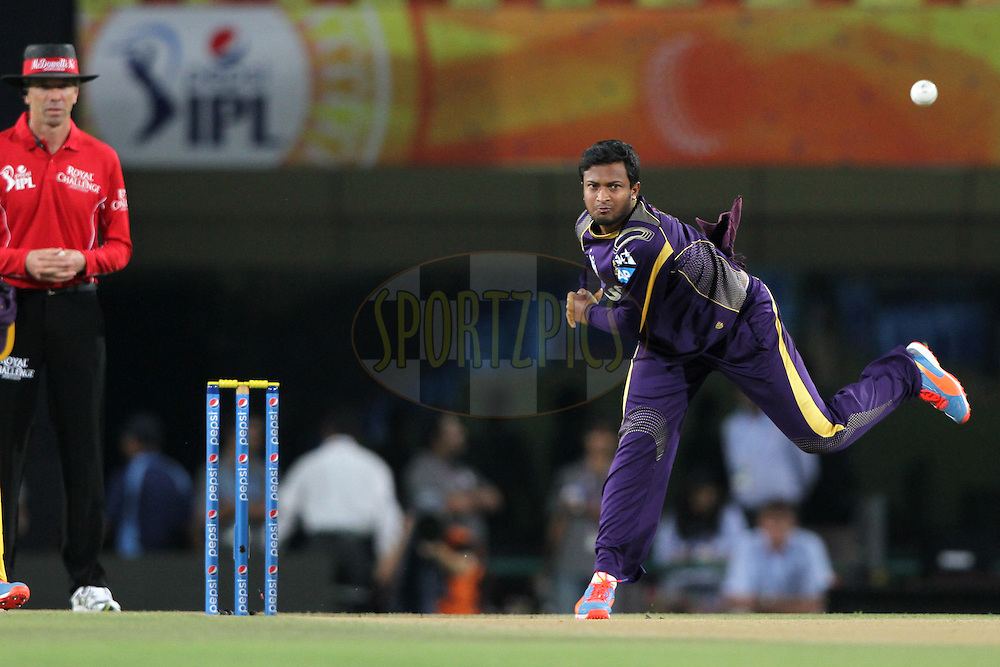 Shakib Al Hasan of the Kolkata Knight Riders during match 21 of the Pepsi Indian Premier League Season 2014 between the Chennai Superkings and the Kolkata Knight Riders  held at the JSCA International Cricket Stadium, Ranch, India on the 2nd May  2014<br /> <br /> Photo by Deepak Malik / IPL / SPORTZPICS<br /> <br /> <br /> <br /> Image use subject to terms and conditions which can be found here:  http://sportzpics.photoshelter.com/gallery/Pepsi-IPL-Image-terms-and-conditions/G00004VW1IVJ.gB0/C0000TScjhBM6ikg