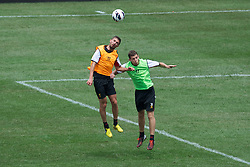 BALTIMORE, MD - Friday, July 27, 2012: Liverpool's Fabio Borini and John Flanagan during a training session ahead of the pre-season friendly match against Tottenham Hotspur at the M&T Bank Stadium. (Pic by David Rawcliffe/Propaganda)