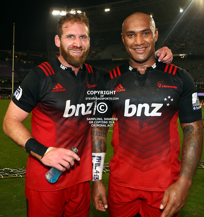 DURBAN, SOUTH AFRICA - MARCH 26:  Kieran Read with Nemani Nadolo of the BNZ Crusaders during the Super Rugby match between Cell C Sharks and BNZ Crusaders at Growthpoint Kings Park on March 26, 2016 in Durban, South Africa. (Photo by Steve Haag/Gallo Images)