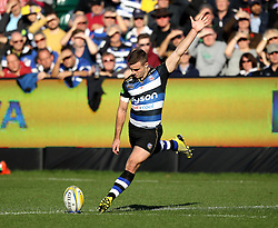 George Ford of Bath Rugby - Mandatory byline: Robbie Stephenson/JMP - 07966386802 - 31/10/2015 - RUGBY - Recreation Ground -Bath,England - Bath Rugby v Harlequins - Aviva Premiership