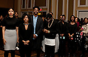 Attendees, including Ohio University NAACP President Alexis Apparicio, second from left, and vice-president, Nile Harris, third from left, listen attentively as Ohio University President Roderick J. McDavis speaks at the All Black Affair at Baker University Center Ballroom at Ohio University on Friday, January 29, 2016. © Ohio University / Photo by Sonja Y. Foster
