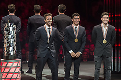 November 13, 2017 - Cheste, Spain - MotoGP Award Night Motogp World championship podium from (L toR) Andrea Dovizioso second palce, Marc Marquez first place, Maverick Vinales third place (Credit Image: © Gaetano Piazzolla/Pacific Press via ZUMA Wire)