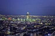 """France. Lyon . Lighting on the Rhone bridges, aerial view Vue generale sur Lyon et la tour du credit lyonnais surnommee le """"crayon"""" et symbole duquartier de la """"Part DieuR00063 30L931103a P0000249"""