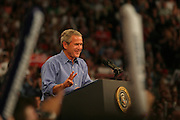 President George W. Bush makes a re-election campaign stop at the Xcel Energy Center in St. Paul, MN on August 18th, 2004.