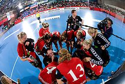 Coach of Aalborg Bjoern Blomquist with his players at handball match of Round 2 of Champions League between RK Krim Mercator and Aalborg DH, on October 31, 2009, in Arena Kodeljevo, Ljubljana, Slovenia.  Krim won 30:23. (Photo by Vid Ponikvar / Sportida)