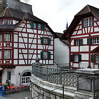 Medieval Half-timbered Buildings in Lucerne, Switzerland<br />