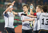 RAIPUR (India) . Niklas Wellen (Dui.) (l)   scored 1-0. middle Florian Fuchs (Dui.)  .  Hockey Wold League Final round  men . Germany v India.   WSP Copyright  Koen Suyk