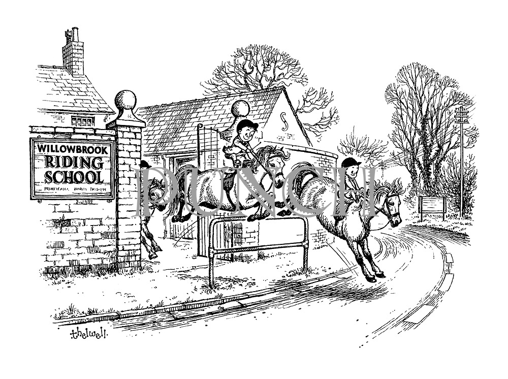 (willowbrook riding school children riding ponies into street)