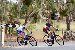 Nicole Hanselmann (SUI) and Brodie Chapman (AUS) in the break on Stage 1 of 2020 Santos Women's Tour Down Under, a 116.3 km road race from Hahndorf to Macclesfield, Australia on January 16, 2020. Photo by Sean Robinson/velofocus.com