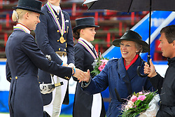 Prize giving Young Riders Kür with HRH Princess Benedict<br /> 1. Sanneke Rothenberger (GER)<br /> 2. Annabel Frenzen (GER)<br /> 3. Cathrine Dufour (DEN)<br /> European Championship Dressage Young Riders - Broholm 2011